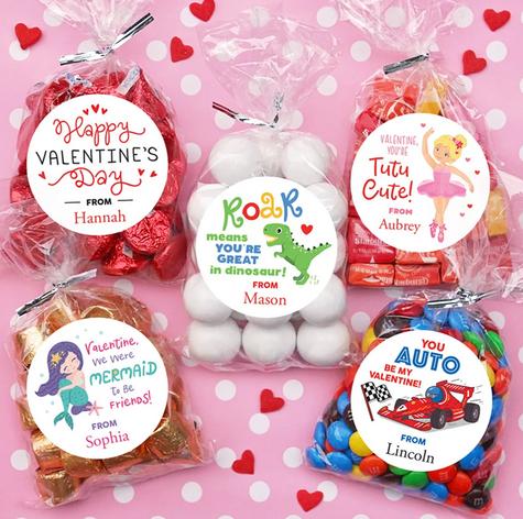 Goodie Bag Stickers Personalized Valentine Stickers Treat Bag Labels 469 Happy Valentine\u2019s Day Stickers 24 STICKERS Valentine Stickers