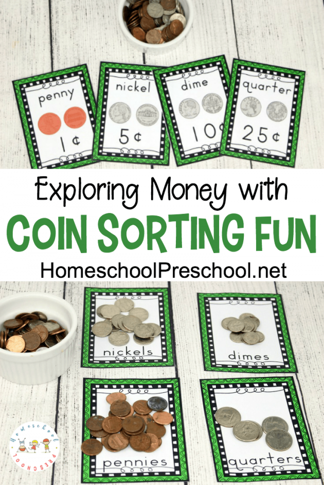graphic relating to Free Printable Money referred to as Totally free Printable Coin Sorting Preschool Sport Cash