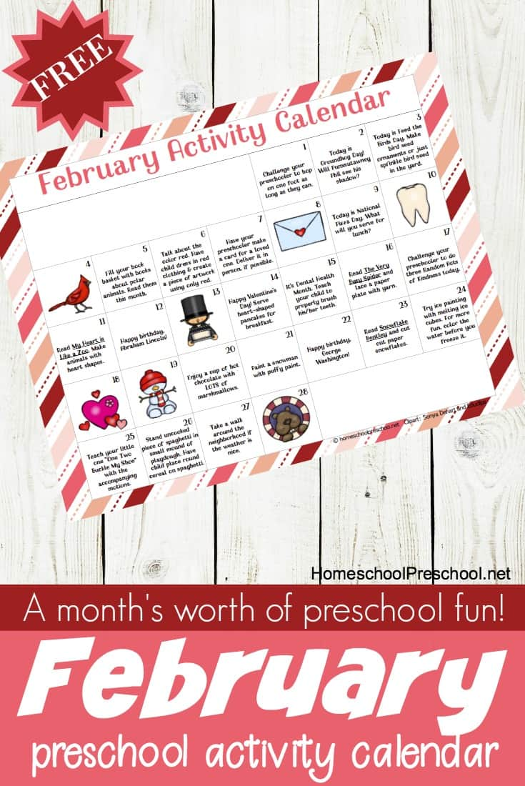 February 2018 Calendar Kindergarten : Free printable february preschool activity calendar