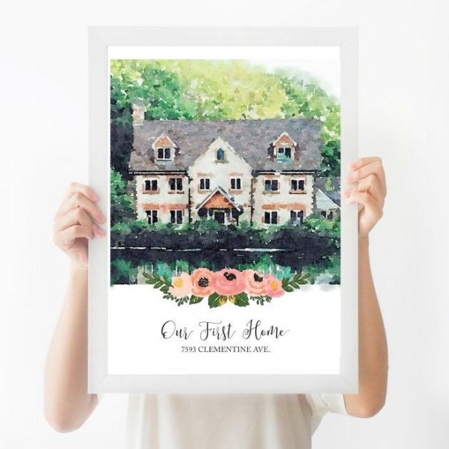 Get a Custom Watercolor House Print for just $18.99!