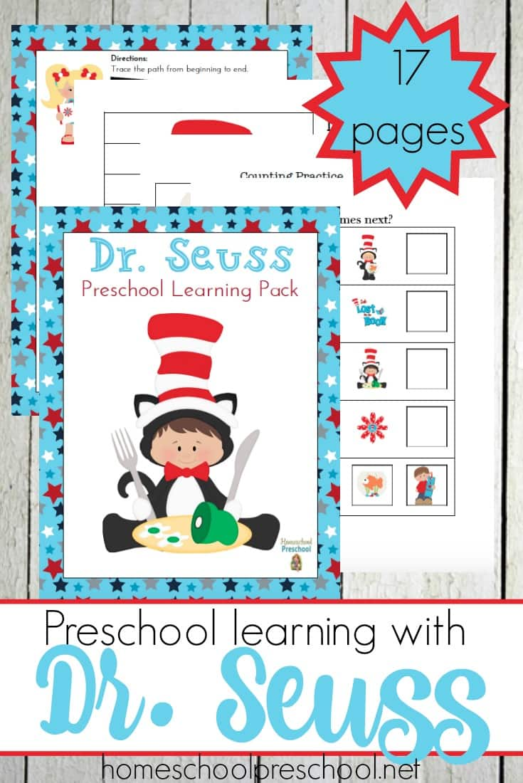 graphic regarding Printable Dr Seuss Images named Totally free Dr. Seuss Preschool Printable Pack - Economic Conserving Mother