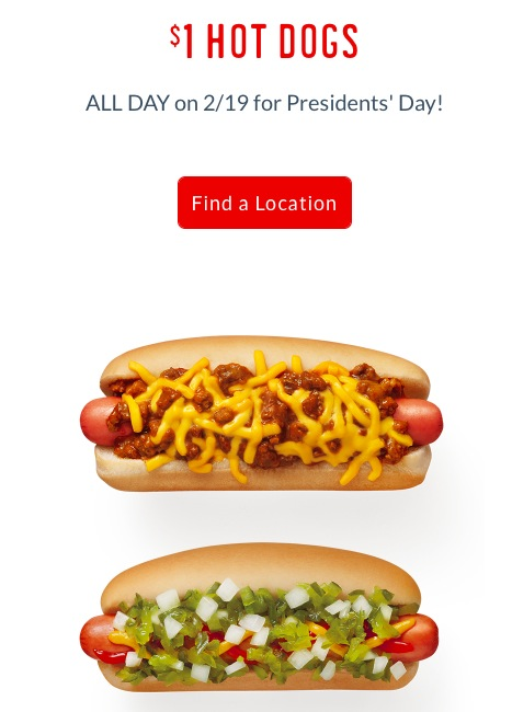 Sonic: $1 Hot Dogs on February 19, 2018