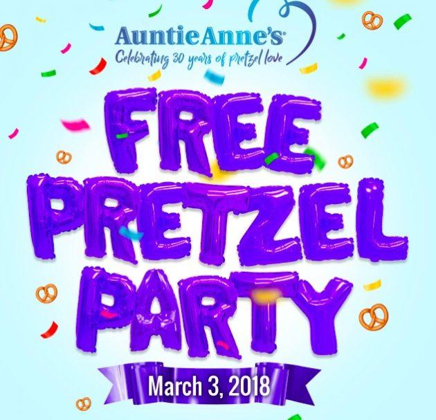 Auntie Anne's: Free Original or Cinnamon Pretzel on March 3, 2018