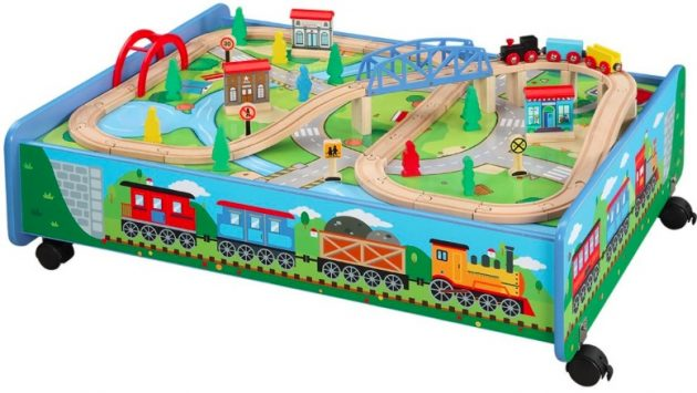 Amazon.com: Wooden Train Set with Train Table (62 piece) only $46.50 shipped!