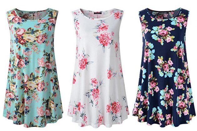 f720d287de2 Amazon.com: Women's Tunic Floral Flare Tank Top only $13.99! - Money ...