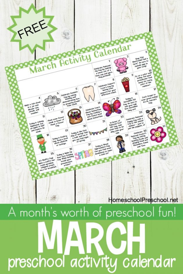 Free Printable March Activity Calendar For Preschoolers  Money