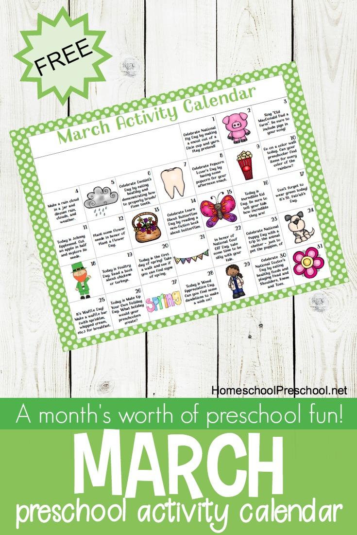 Calendar Preschool Activities : Free printable march activity calendar for preschoolers