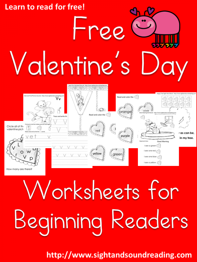 Free Printable Valentine\'s Day Worksheets for Beginning Readers ...