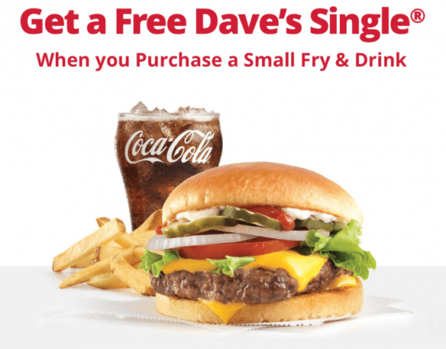 Wendy's: Free Dave's Single with Purchase of Small Fry & Drink