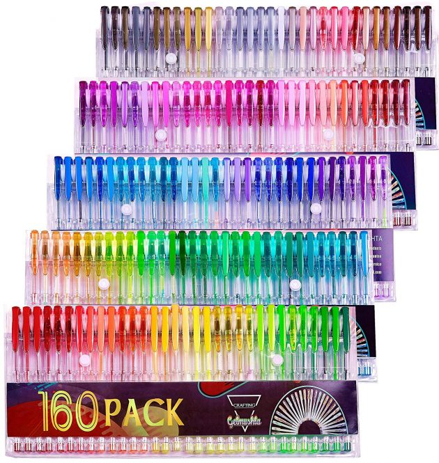 Amazon.com: Gelmushta Gel Pens 160 Unique Colors with Case only $16.14