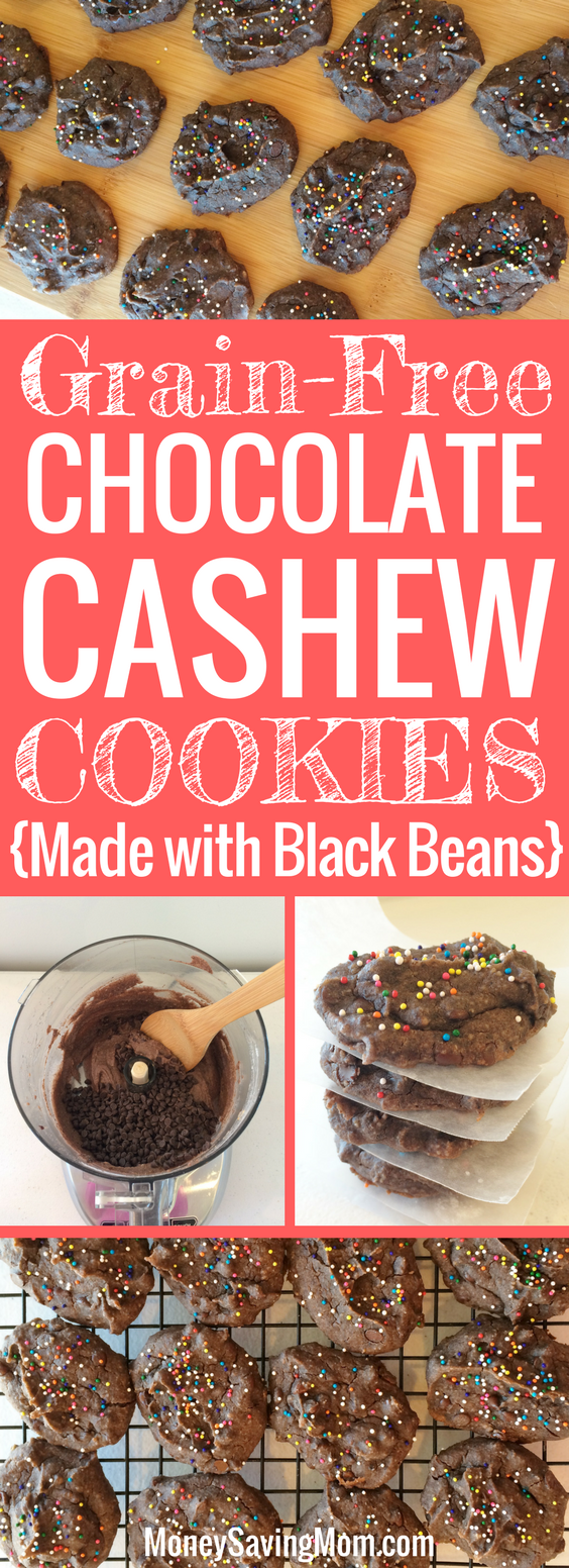 These Chocolate Cashew Cookies are protein-packed, grain-free, and freezer-friendly! You'd never guess they are made with black beans, because they are SO delicious!!