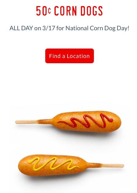 Sonic: $0.50 Corn Dogs on March 17, 2018
