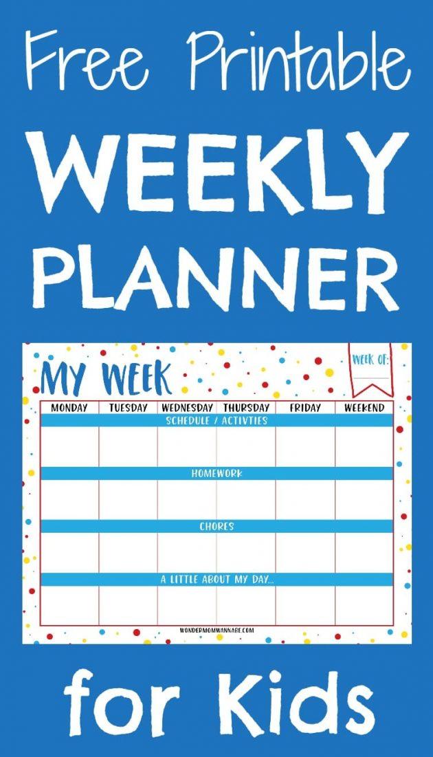 free printable weekly planner for kids