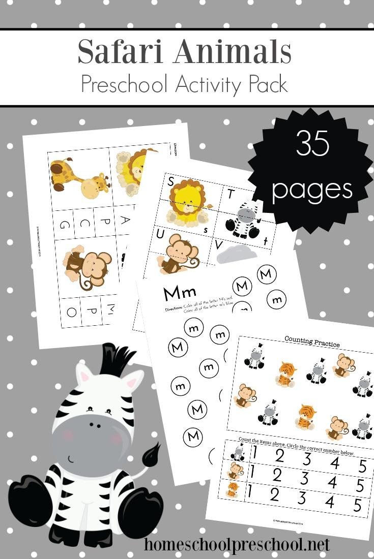 Free Printable Jungle Animals Preschool Activity Pack