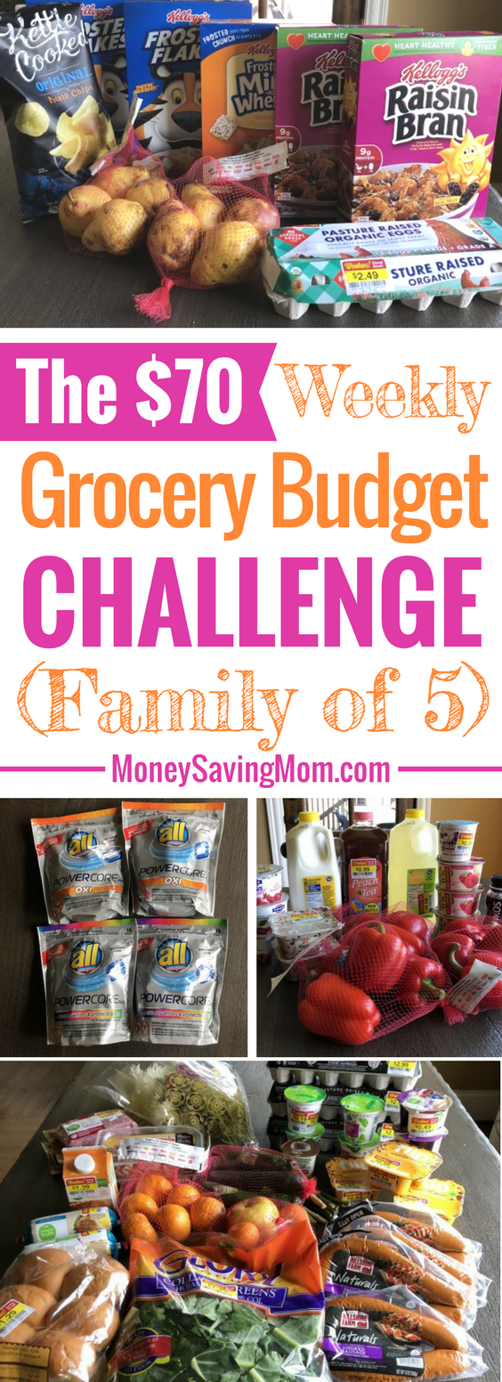 This $70 Weekly Grocery Budget for a family of 5 is super impressive!! Check out her menu plan!