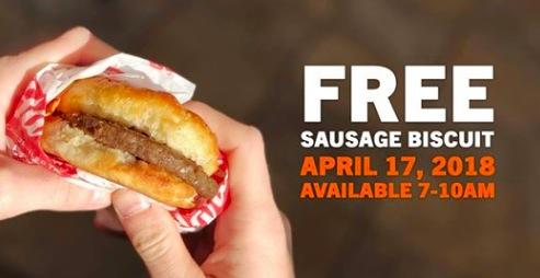 Hardees: Free Sausage Biscuit on April 17, 2018!