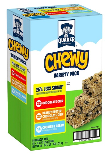 Amazon.com: Quaker Chewy Granola Bars (58 count) only $8.42 shipped!