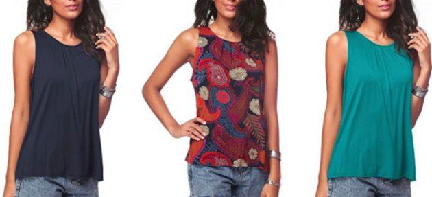 Amazon.com: Women's Sleeveless Pleated Back Closure Tank Top only $13.99!