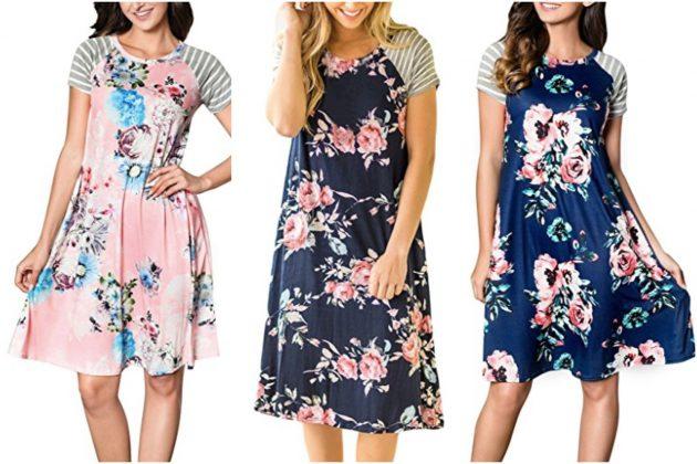 c102a894d5 Get a Women's Floral Print Short Sleeve A-Line Loose T-Shirt Dress for
