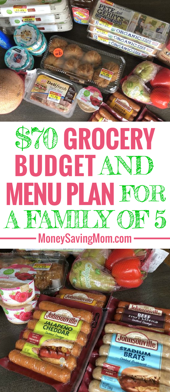 This $70 Grocery Budget for a family of 5 is SO inspiring! She even shares her menu plan each week!