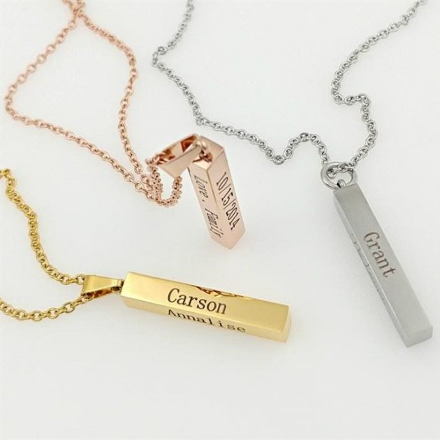 Get an Engraved 4-Sided Bar Necklace for only $11.49 + shipping!