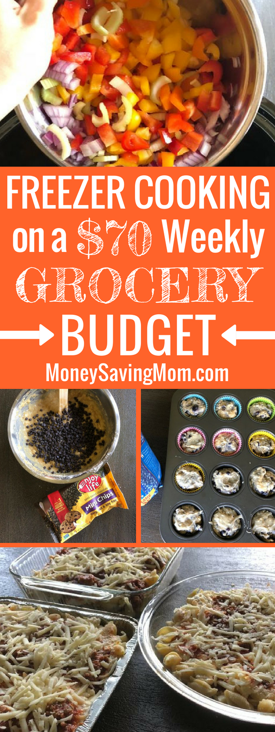 Freezer Cooking on a $70 weekly grocery budget. This is SO impressive and inspiring!! Check out everything she made in just a couple hours!