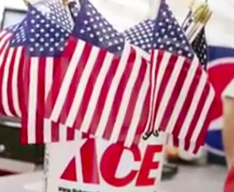Free American Flag at Ace Hardware on May 26, 2018