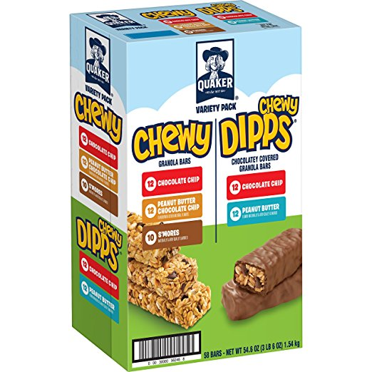 Quaker Chewy Granola Bars and Dipps Variety Pack, 58 count only $7.99 shipped!