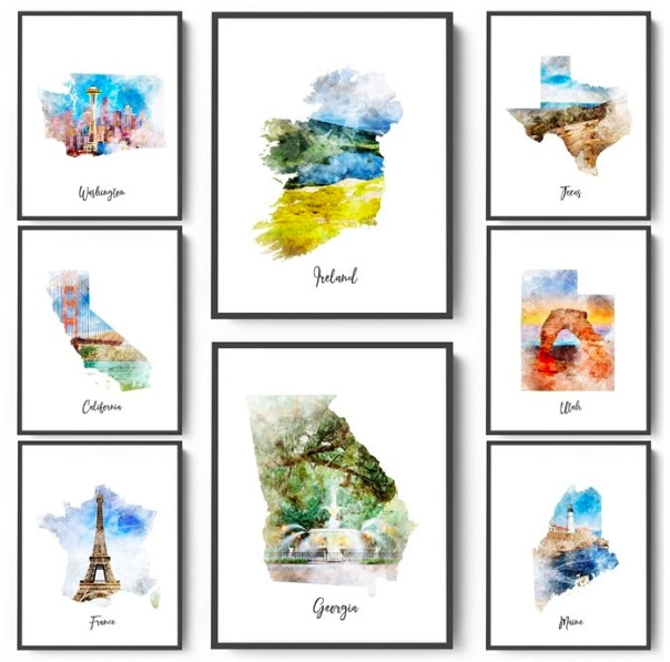 Watercolor Map Prints only $3.69 + shipping!