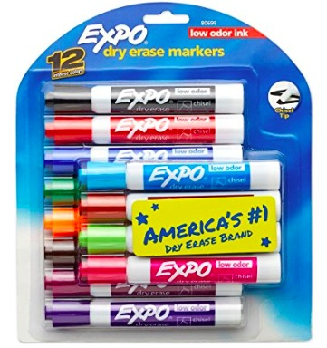 Expo Dry Erase Markers, Chisel Tip, 12-Count only $7.19!