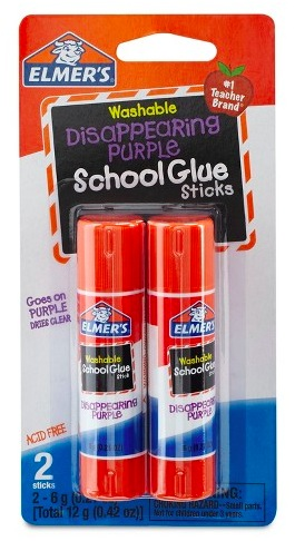 lmer's Washable Glue Sticks Disappearing Purple, 2 count only $0.49!