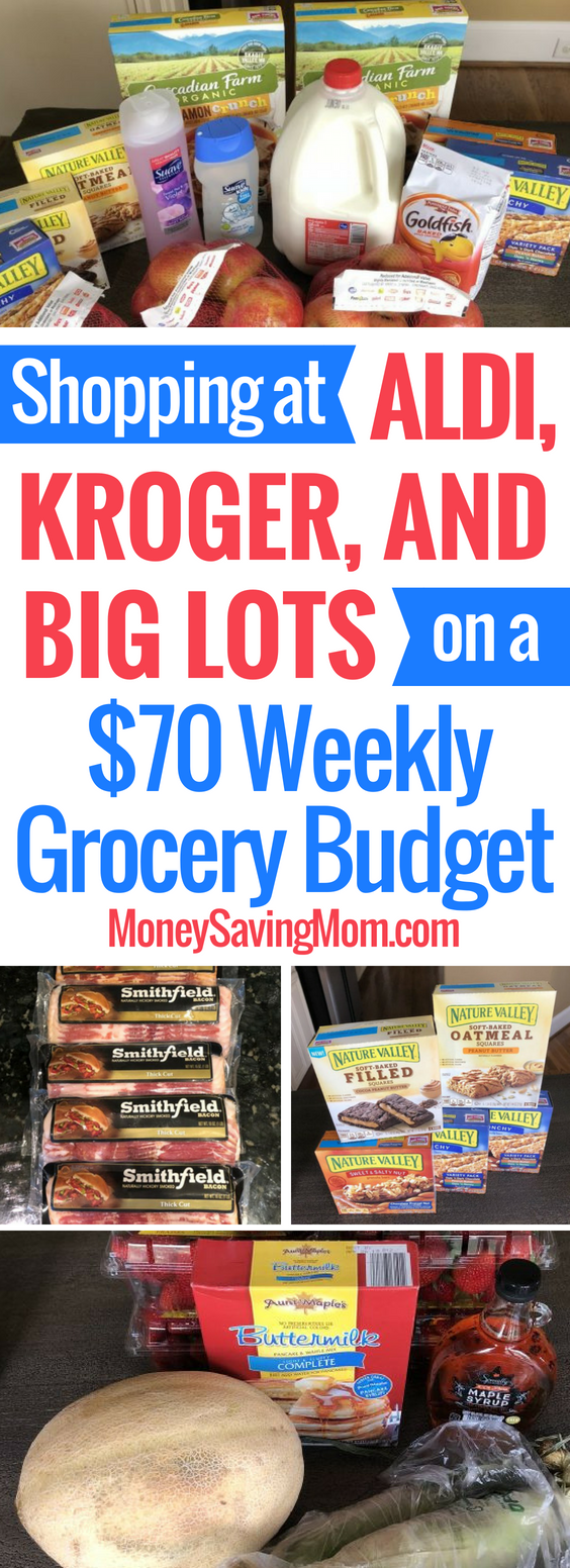 Check out this shopping haul from ALDI, Kroger, and Big Lots -- all on a $70 weekly grocery budget!