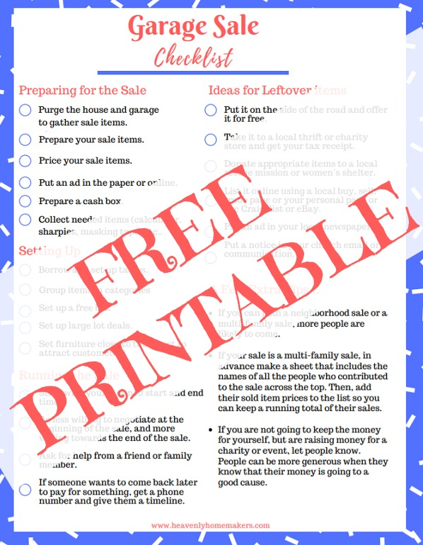 free printable garage sale checklist money saving mom money