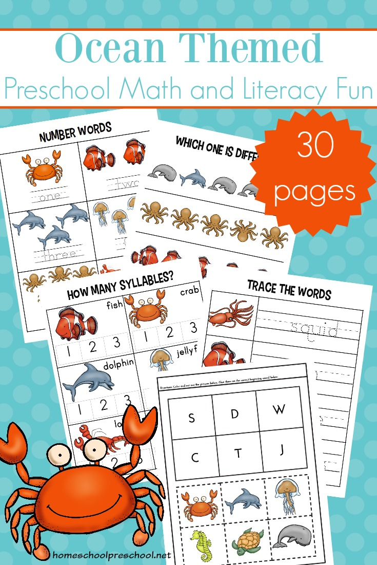 free printable ocean themed preschool learning pack