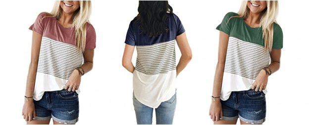 Women's Striped Color Block T-Shirt only $10.99!