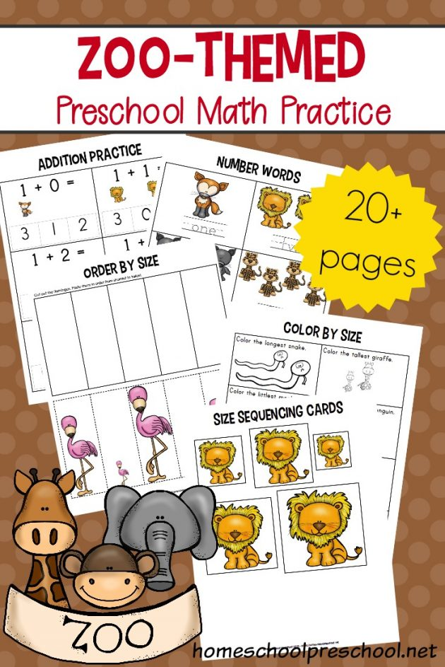 Free Printable Zoo-Themed Preschool Math Worksheets Money Saving Mom® :  Money Saving Mom®