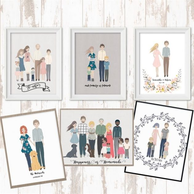 Personalized Family Cartoon Portrait only $13.99 shipped!