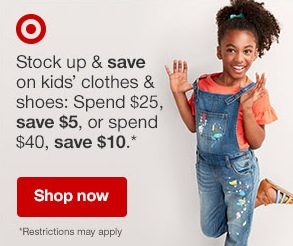 7e74e672a This week, Target is offering $5 off $25 or $10 off $40 select kids'  back-to-school clothing when you use the promo code KIDS at checkout!
