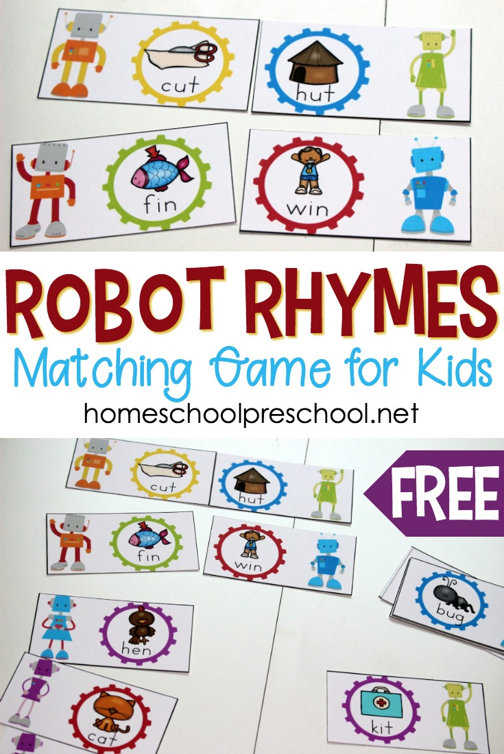 Free Printable Robot Rhyming Words Game for Preschoolers ...