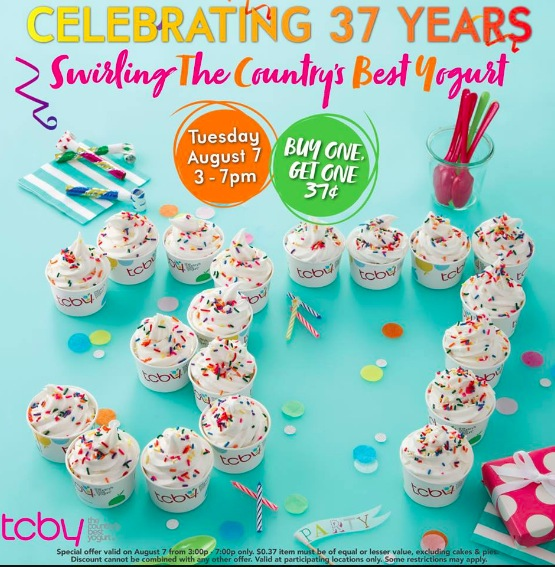 Tcby buy one frozen yogurt get one for 037 on august 7 2018 stop by your local tcby on august 7 2018 from 3 pm to 7 pm to get buy one get one for 037 frozen yogurt publicscrutiny Choice Image