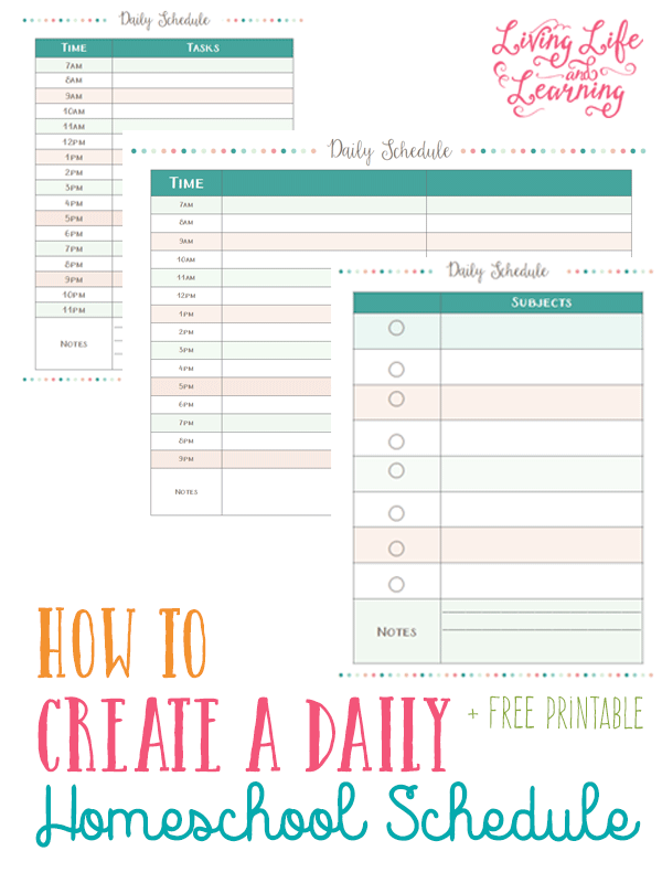 download a free weekly homeschool schedule printable and a free daily homeschool schedule printable to help you get organized for the new school year