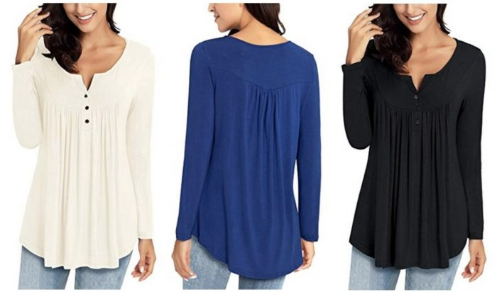 Women's Casual Long Sleeve Tunic Top Blouse only $16.99!