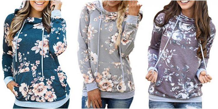 Floral Printed Casual Long Sleeve Hoodie Pullover Sweatshirt just $19.99!