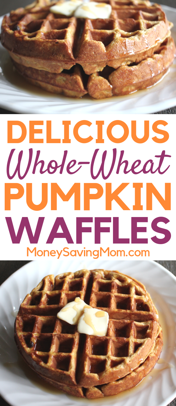 These Whole-Wheat Pumpkin Waffles are SO delicious and perfect for fall!