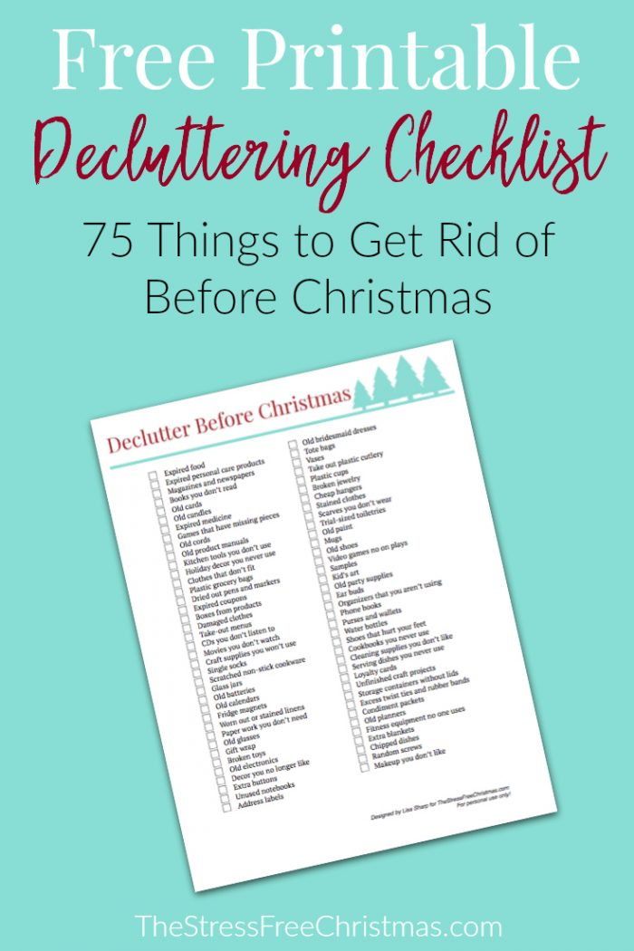 free decluttering checklist for christmas money saving mom