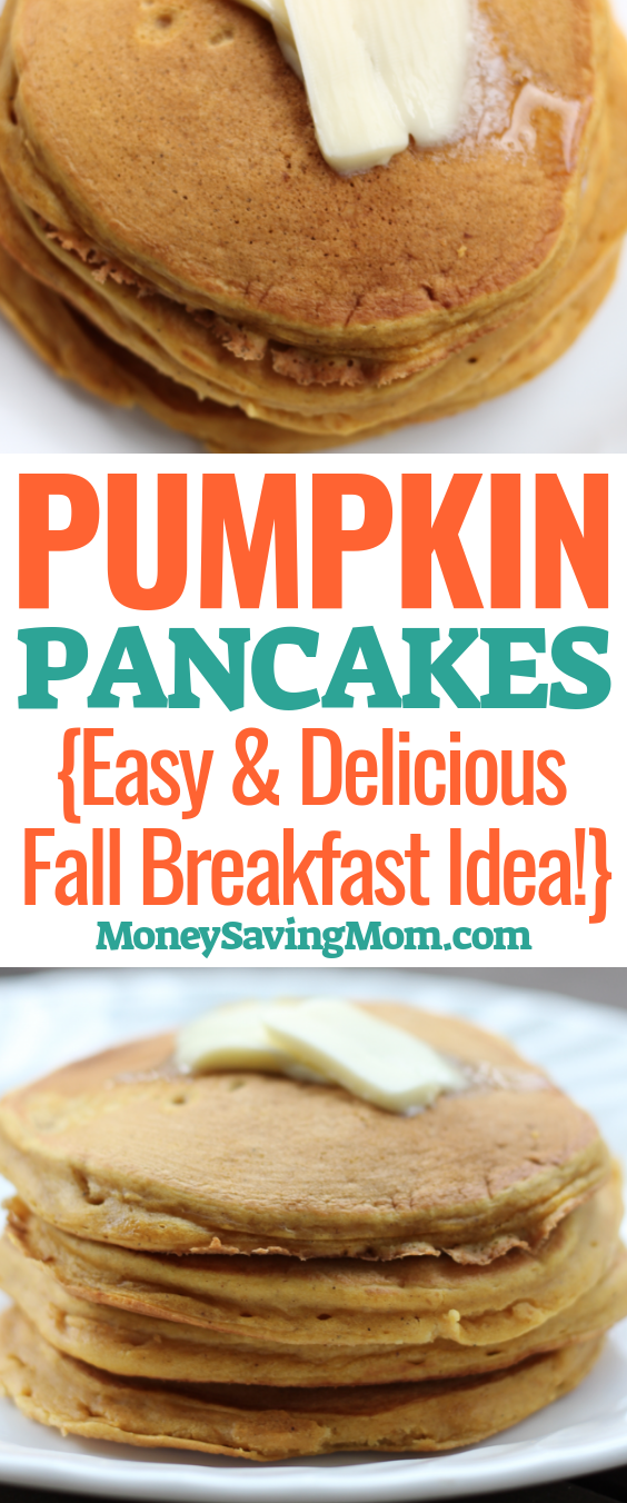 This Pumpkin Pancakes recipe is SO delicious and simple! You'll LOVE this Fall breakfast idea!
