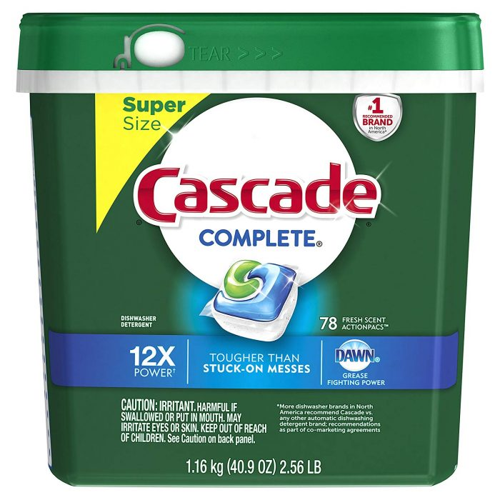 Cascade Complete ActionPacs Dishwasher Detergent, 78 count only $9.70 shipped!