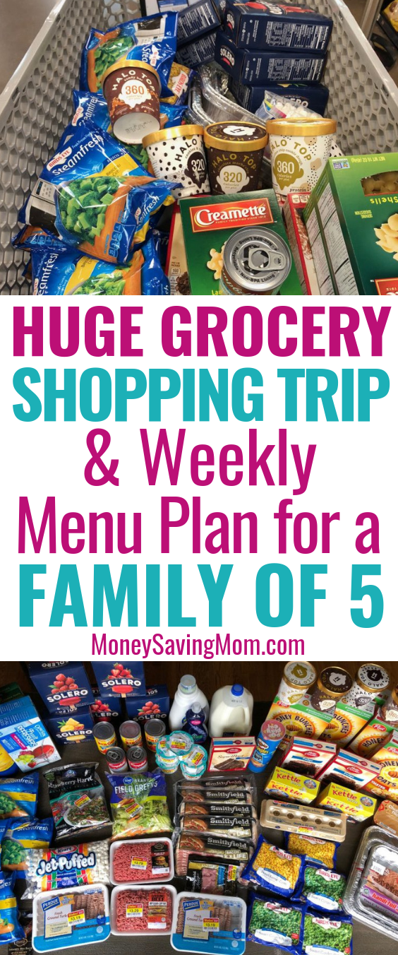Whoa! This grocery shopping trip and weekly menu plan for a family of 5 is SO inspiring!