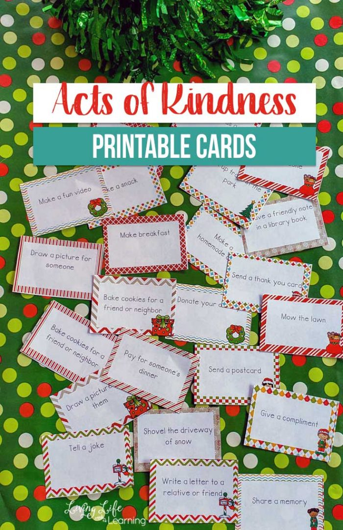 photo relating to Kindness Cards Printable known as Free of charge Printable Functions of Kindness Vacation Playing cards Dollars Conserving