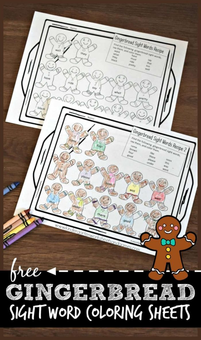 Free Printable Gingerbread Sight Word Coloring Sheets ...
